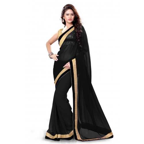 Black Embroidered Designer Cocktail Party Wear Saree Online Shopping For Designer Sarees By Sourbh Sarees available at Craftsvilla for Rs.1399