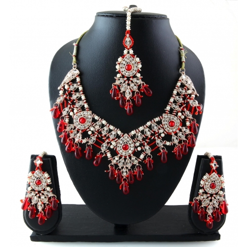 Traditional Exclusive Designer Fashionable Indian Maroon Patwa Jewelery Necklace Set 2012