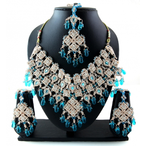 Heavy Indian Fashionable Blue Patwa Jewellary Necklace Set 2012