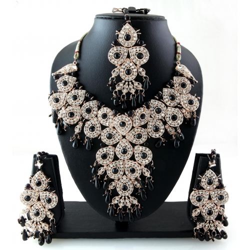 Trendy Vintage Bollywood Indian Fashionable Black Patwa Jewellery Necklace Set