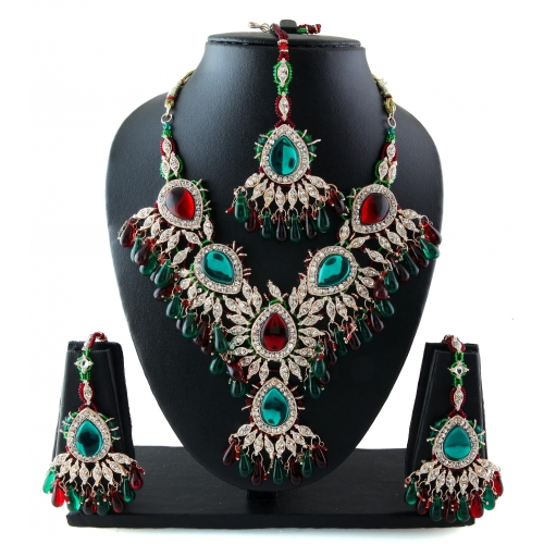 Very Attractive Designer  Bollywood Indian Multicolored Necklace Set