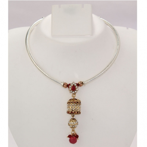 Indian Ethnic Necklace Set,earrings With Pearls,colored Stone, Diamanates &beads