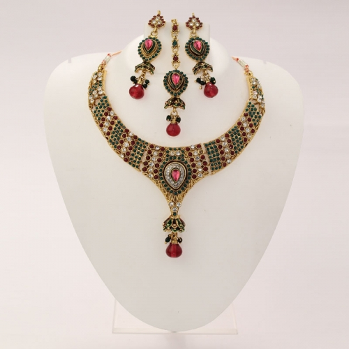 Indian Ethnic Necklace Set,earrings & Mangtikka Colored Diamantes & Beads 281
