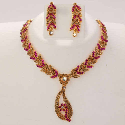 Indian Ethnic Necklace Set & Earrings With White & Colored Diamanates - 297