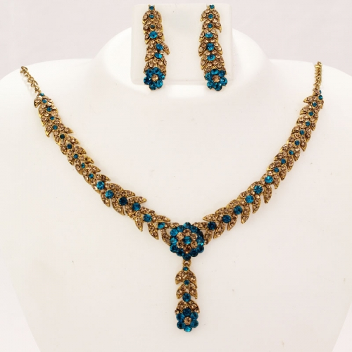 Indian Ethnic Designer Necklace Set, Earrings With Diamantes 421