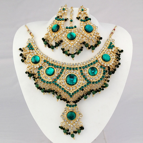 Indian Necklace Set, Earrings And Mangtika With Drop, Diamantes & Stones 446