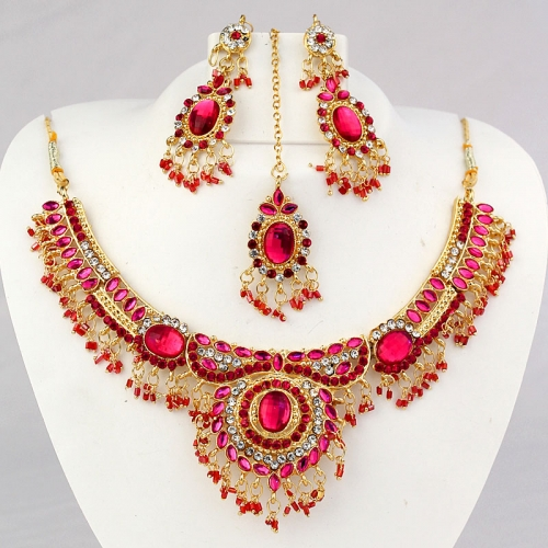 Indian Necklace Set, Earrings And Mangtika With Diamantes & Stones 450