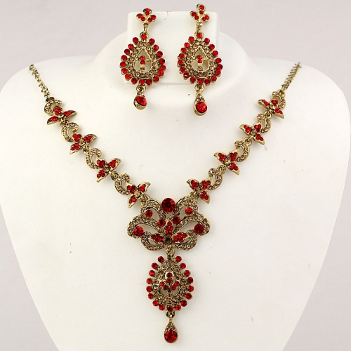 Indian Necklace Set, Earrings With Drop, Diamantes & Stones 455