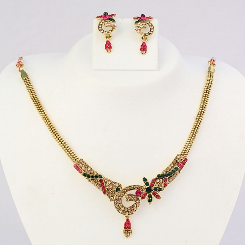 Indian Designer Necklace Set, Earrings With Diamantes In Golden Finishing 530