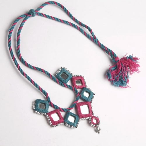 Sandur\'s Pink And Blue Mirror Necklace