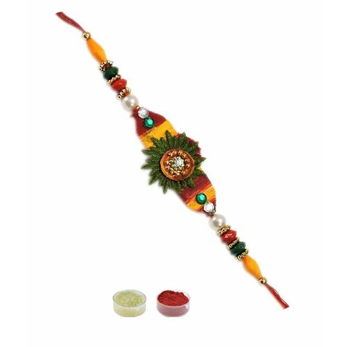 varicolored beads rakhi for bhaiya