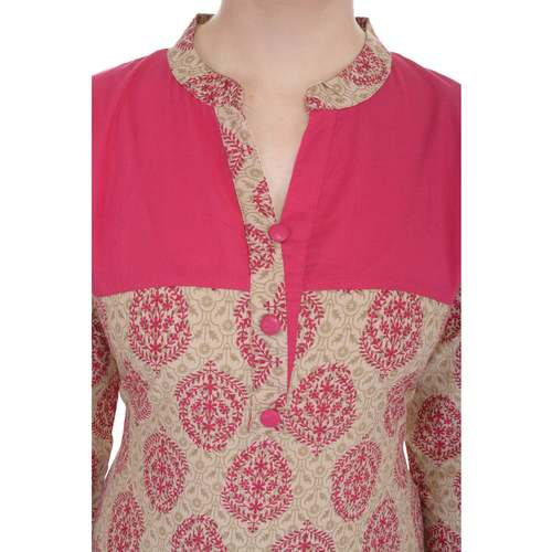 Anuswara Casual Jaipuri Printed Pink Cotton Straight Kurti