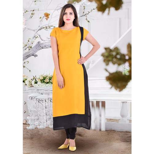 Anuswara Yellow And Black Patti Rayon Kurti
