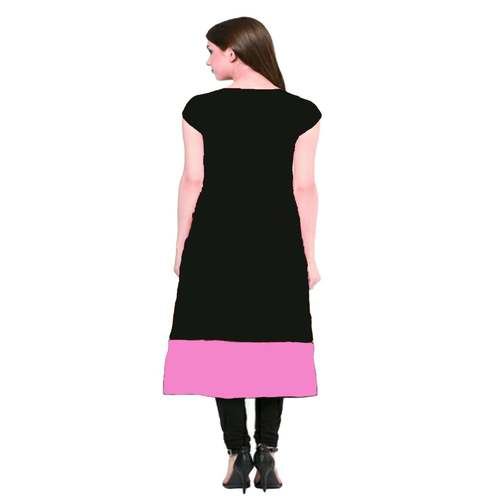 Anuswara Black And Pink Patti Rayon Kurti