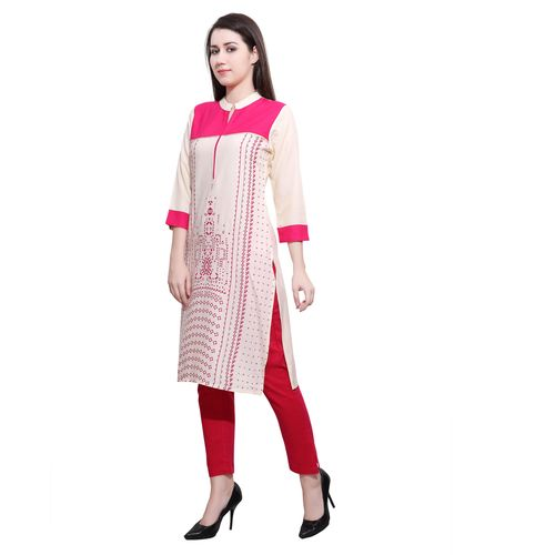 Anuswara Pink & Off White Collor Straight Rayon Kurta