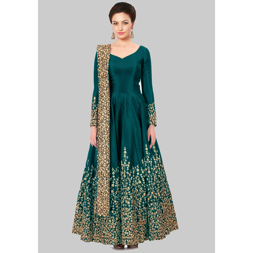 Craftsvilla Firoji Color Silk Embroidered Square Neck Circular Semi-stitched Anarkali Suit