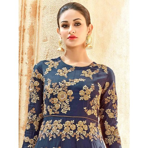Craftsvilla Blue Color Silk Embroidered Circular Semi-stitched Anarkali Suit