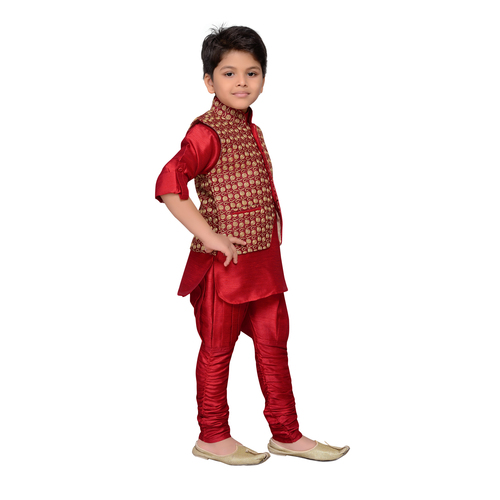 Craftsvilla Maroon Color Kurta Pyjama And Waistcoat For Boys