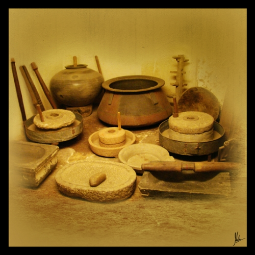 buy set of three photographs of traditional indian cooking