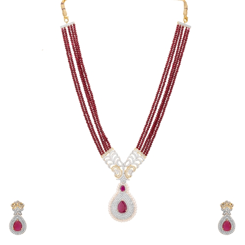 Adwitiya 24k Gold Plated Chain Set Studed With Rich Cz Stone, Ruby And Simulated Pearl With Multi Layer Chain Studed With Red Pearl available at Craftsvilla for Rs.6832