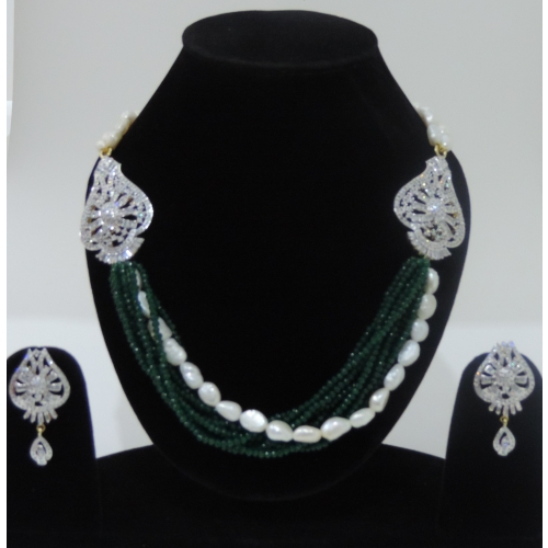 Effile Attire Gold Plated With Coloured Stone And Pearl Strings American Diamond Necklace Set For Women With Exclusive Gold Silver Plated Frost Chain/ available at Craftsvilla for Rs.10300