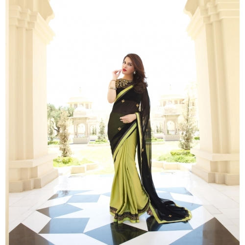 Green And Black Zari Embroidered Georgette Saree With Blouse Piece available at Craftsvilla for Rs.29899
