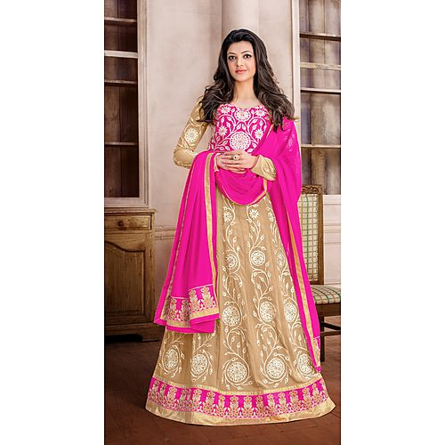 Buy florence beige chiffon semistiched embroidered lehenga