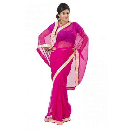 Imani Casual Pink Georgette Saree