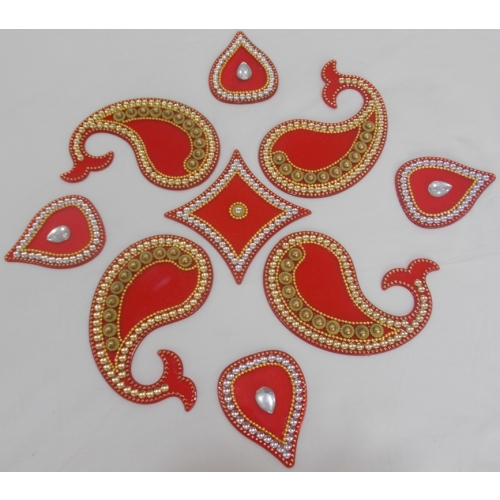 dolphin and modak with round center in red colour