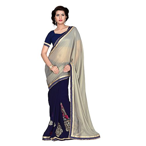 Khushali Women S Green And Blue Chiffon Saree With Foil Jacquard Pallu And Unstitched Blouse Piece