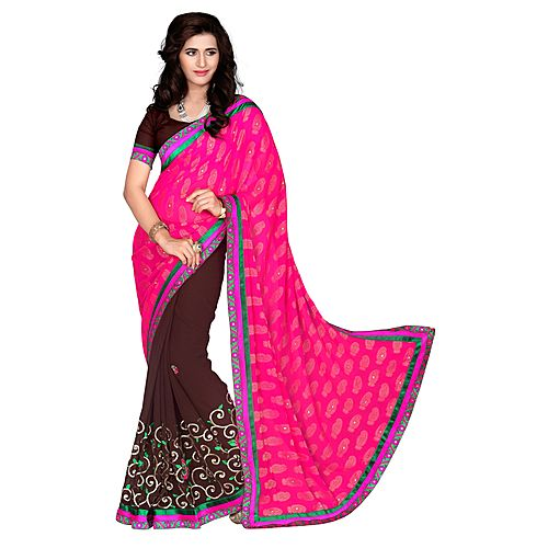 Khushali Women S Rani And Coffee Georgette Saree With Foil Jacquard Pallu And Unstitched Blouse Pice