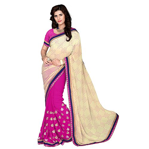 Khushali Women S Beige And Red Georgette Saree With Foil Jacquard Pallu And Unstitched Blouse Piece