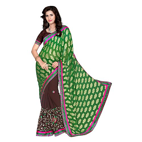 Khushali Women S Green And Coffee Georgette Saree With Foil Jacquard Pallu And Unstitched Blouse Piece