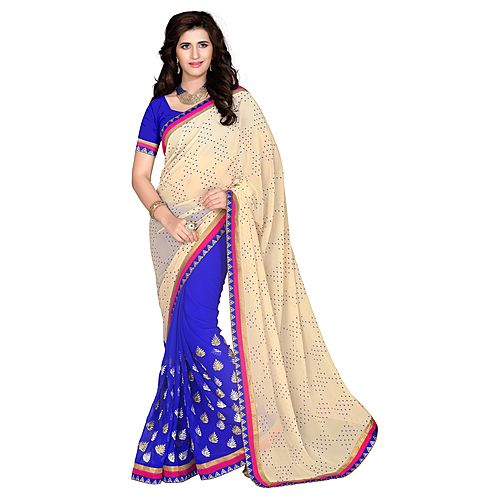 Khushali Women S Beige And Blue Georgette Saree With Foil Jacquard Pallu And Unstitched Blouse Piece