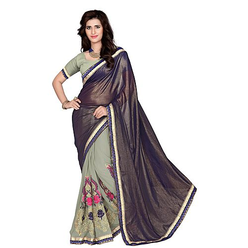 Khushali Women S Navy Blue And Grey Chiffon Saree With Foil Jacquard Pallu And Unstitched Blouse Piece