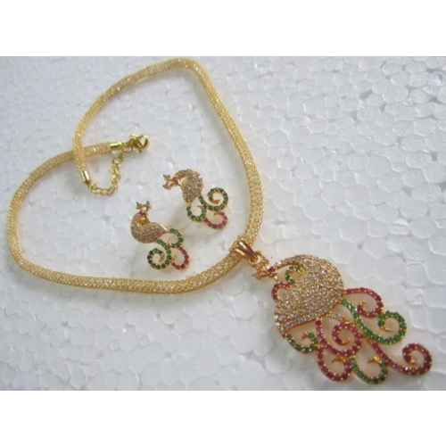 Gold Plated Peacock Cz Necklace Set Zircon Stone Chain Pendant Earrings Temple
