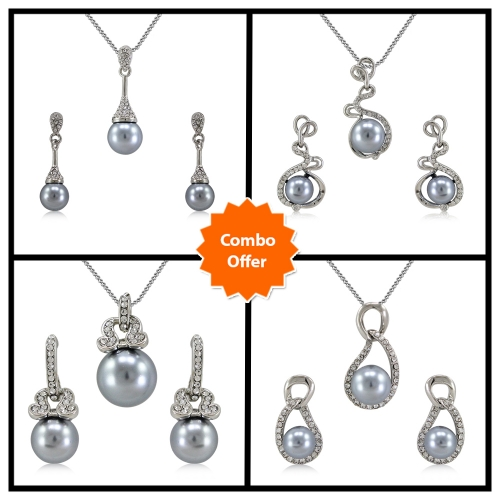 Vorra Fashion New Design Pearl Shape Traditional Pendant Set With Chain combo Offer  available at Craftsvilla for Rs.3800