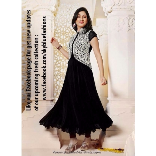 Black Faux Georgette Anarkali Suit With Emroidered Work Online Shopping