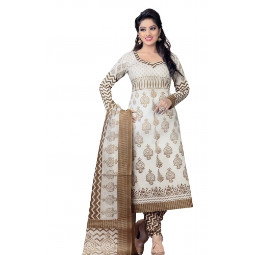 702 Printed Designer White Dress Material Suit