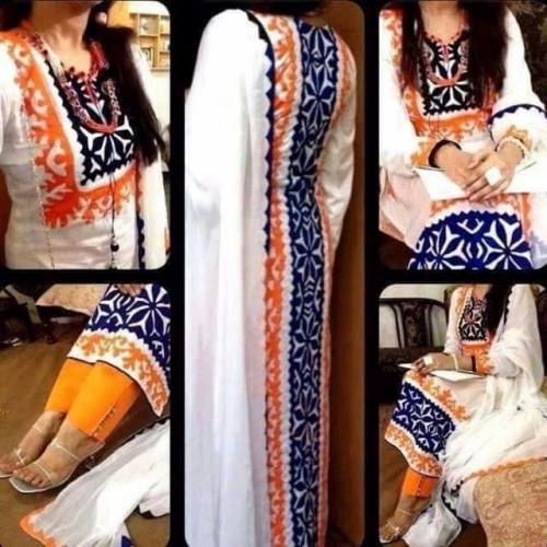 White Latest Embroidery Work Salwar Suit