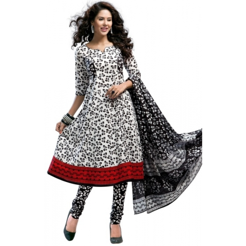 1020 Printed Designer Black And White Dress Material Suit