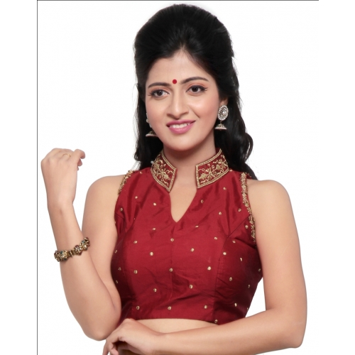 Stand Color Blouse Designs : Stand collar red silk saree blouse cl p muhenera