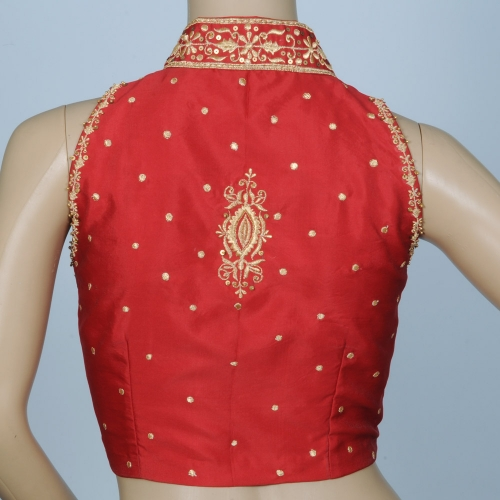 Stand Collar Blouse Designs : Stand collar red silk saree blouse cl p muhenera