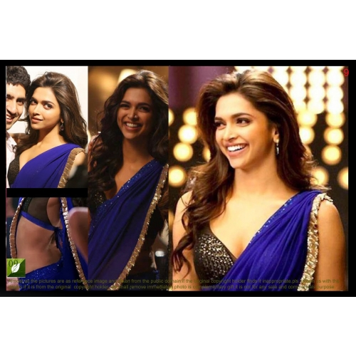 Deepika Padukone Royal Blue Saree