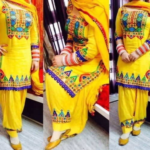 Beautiful Yellow Patiyal Embroidery Designer Salwar Suit