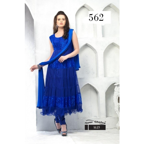 Apple Blue Brasso Net Top Santoon Bottam Inner Ft And Naznin Dupatta Anarlkali Semistitched Partywear Fancy Salwar Shut