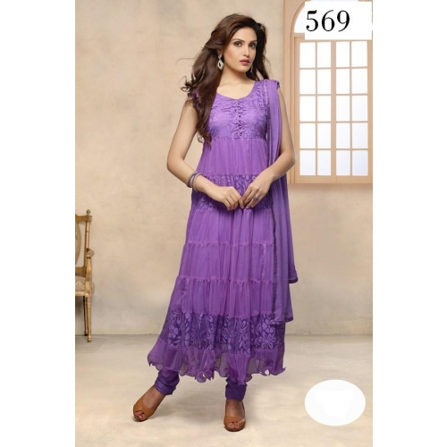 Purple Brasso Net Top Santoon Bottam Inner Ft And Naznin Dupatta Anarlkali Semistitched Partywear Fancy Salwar Shu