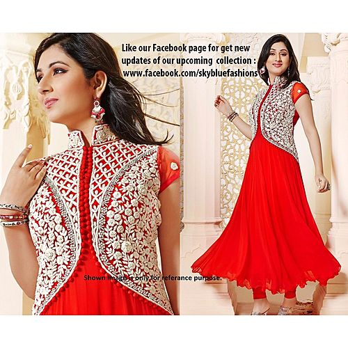 Jacket Style Red Suit With Dupatta