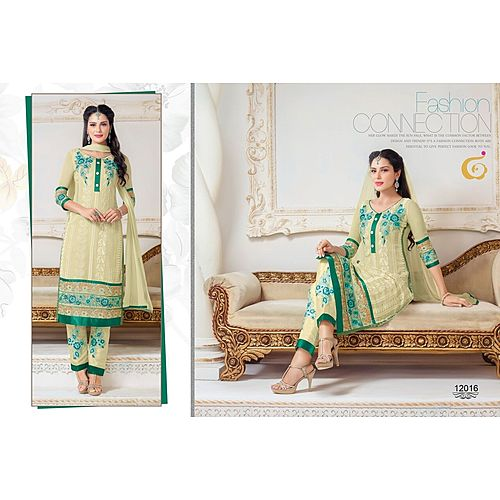 Designer Semi Stitched Cream Anarkali Suit