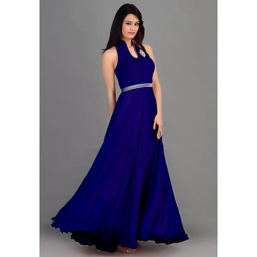 Latest Designer Heavy Blue Sleeveless Gown
